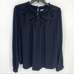 Ann Taylor LOFT Lace Top Floral Patchwork Blouse Long Sleeve Shirt